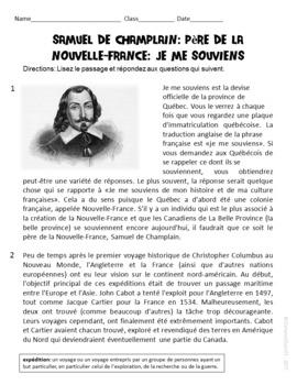 Passage de préparation au test de texte informatif de Samuel De Champlain