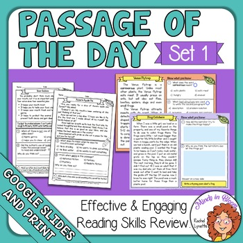 Reading Passage of the Day: Comprehension Practice with Google Slide Option