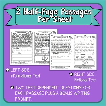 Reading Passage of the Day Comprehension Practice with Google Slide Option Set 1