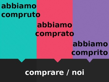 Passato prossimo Regular verbs in Italian Scacciamosche Flyswatter game