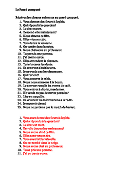 Passé Composé ALL verbs French worksheet 5