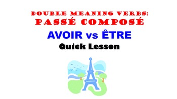Passe Compose Double Meaning Verbs (AVOIR vs ETRE): French