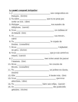Passé Composé French irregular verbs worksheet 6