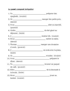 Passé Composé French irregular verbs worksheet 7