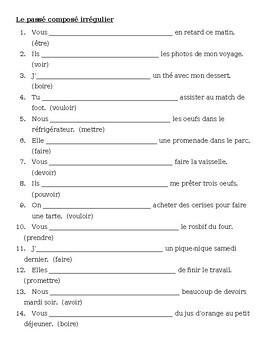 Passé Composé French irregular verbs worksheet 8