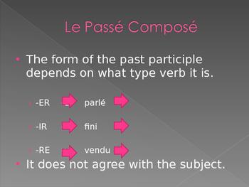 Passé Composé French verbs power point