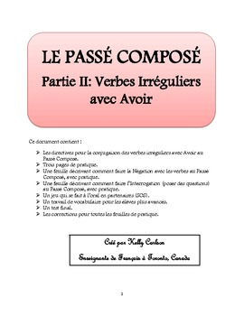 Passe Compose Partie Ii Verbes Irreguliers Avec Avoir By Kelly Carlson
