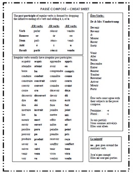 Passé Composé - Printable Notes, Activities, Puzzles, and Test with Answer Key