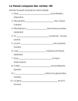 Passé Composé RE French Verbs Worksheet 1