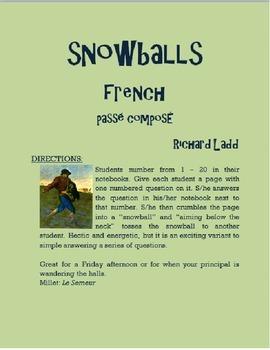Passé Composé Snowballs FRENCH