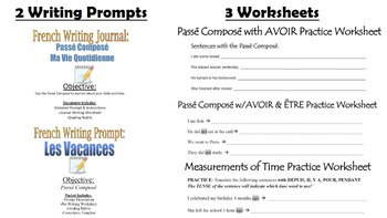 Passe Compose Unit Pack: PPT Lessons, Worksheets, Dice Games, Writing Prompts