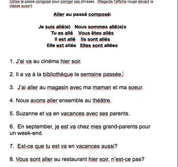 """Passé Composé """"aller"""" practice sheet"""