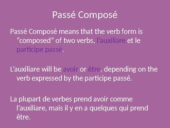 Passe Compose and Imparfait PowerPoint