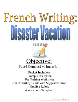 Passe Compose and Imparfait Writing Prompt for French, Rub