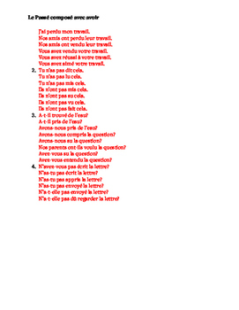 Passé Composé avec avoir regular and irregular French worksheet 5
