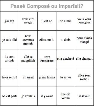 Passé Composé ou Imparfait? Bingo Sheets (30 bingo cards)
