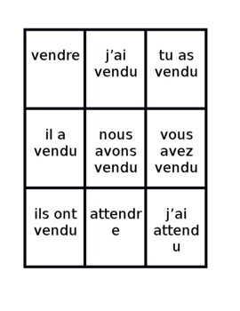 Passé Composé French Regular Verbs Spoons game / Uno game