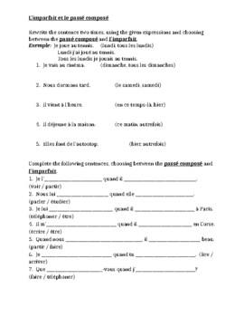 Passé Composé vs Imparfait worksheet 3