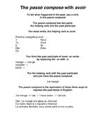 Passé Composé with avoir outline and practice