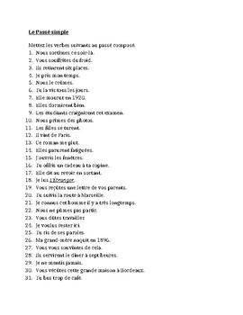 Passé Simple in French worksheet 1