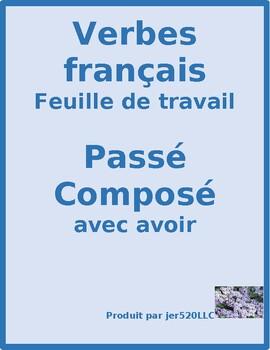 Passé Composé avec avoir regular and irregular worksheet 3