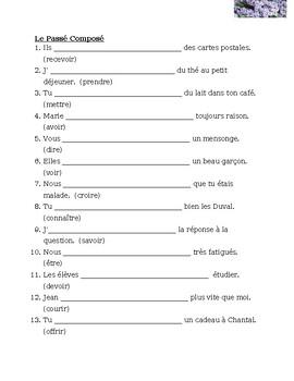 Passé Composé French irregular verbs worksheet 2 by jer | TpT