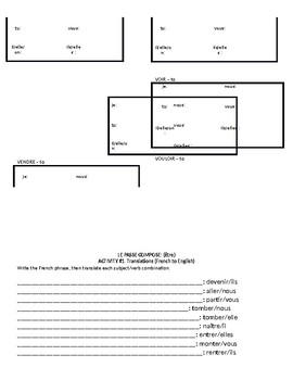 Passé composé être and avoir practice packet 7 pages French worksheet