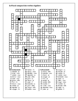 Passé composé regular French verbs crossword