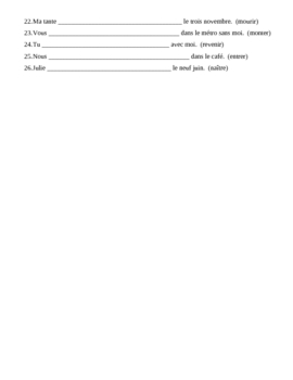 pass compos avec tre french verbs worksheet 2 by jer520 llc tpt. Black Bedroom Furniture Sets. Home Design Ideas