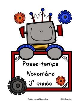 Passe-temps: Novembre - 3e année