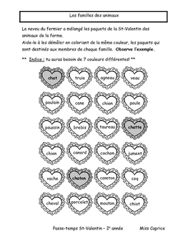 Passe-temps St-Valentin - 2e année