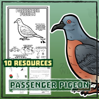 Passenger Pigeon -- 10 Resources -- Coloring Pages, Readin