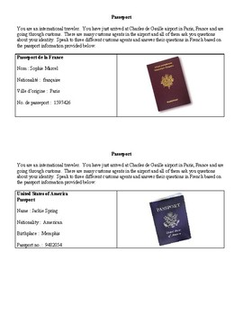 Passeport - Novice French info gap - Formal Greetings, Numbers, Nationality