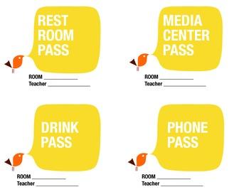 Passes (Drink, Phone, Rest Room, media center)