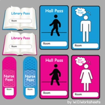 image about Bathroom Pass Printable titled Toilet Pes, Corridor P, Nurse, Library, Workplace, Line Chief