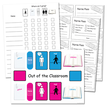 Bathroom Passes, Hall Pass, Nurse, Library, Office, Line Leader
