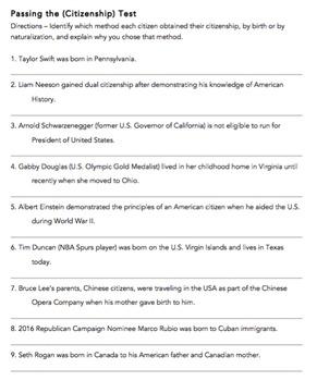 Passing the Citizenship Test: VA Civics & Economics SOL CE. 3a