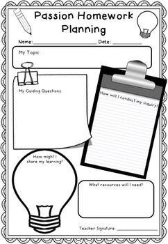 Passion Homework - An Inquiry Approach to Homework!