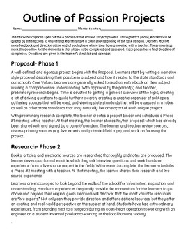 Passion Project;  A PBL and Inquiry Based Learning Approach- AMAZING