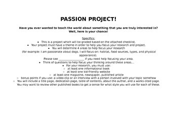 Passion Project info & checklists