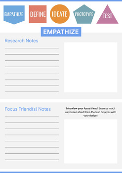 Passion Project with Design Thinking (Graphic Organizer PDF and Google Slide)