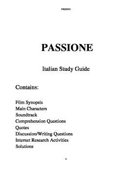 Passione-Italian Study Guide