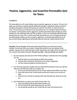 Passive, Aggressive, and Assertive Personality Quiz for Teens