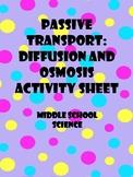 Passive Transport: Diffusion and Osmosis Activity Sheet