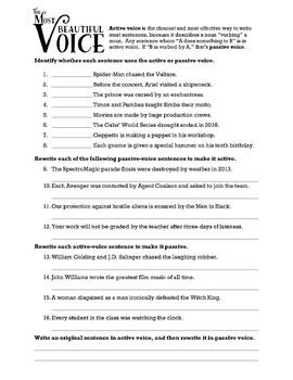 Passive Voice & Active Voice Practice Worksheet