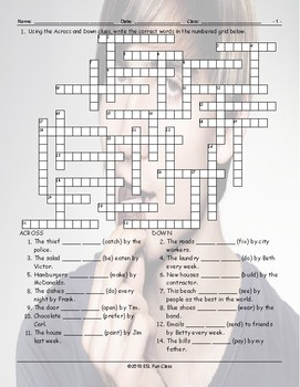 Passive Voice Crossword Puzzle By English And Spanish Language Ideas