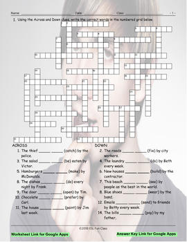 Passive Voice Interactive Crossword Puzzle For Google Apps Tpt