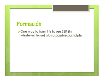 Spanish Passive Voice Notes