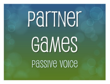 Spanish Passive Voice Partner Games