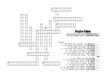 Spanish Passive Voice Puzzle Pack